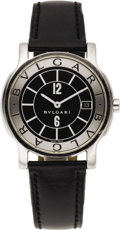 "Timepieces:Wristwatch, Bvlgari Men's Stainless Steel ""Solotempo"" Leather Strap Wristwatch,modern. Case: 35 mm, round, stainless steel with two s... (Total: 1Item)"