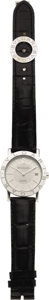 """Timepieces:Wristwatch, Bvlgari Men's Stainless Steel, """"Bvlgari"""" Date Leather Strap Wristwatch, modern. Case: 33 mm, round, stainless steel with w... (Total: 1 Item)"""