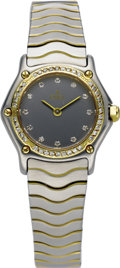 "Timepieces:Wristwatch, Ebel Lady's Diamond, Gold, Stainless Steel ""Wave"" Integral BraceletWristwatch, modern. Case: 23 mm, hexagonal stainless s... (Total: 1Item)"
