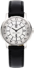 "Timepieces:Wristwatch, Bvlgari Lady's Stainless Steel ""Solotempo"" Date Leather Strap Wristwatch, modern. Case: 29 mm, round, stainless steel with... (Total: 1 Item)"