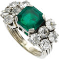 Estate Jewelry:Rings, Emerald, Diamond, White Gold Ring. The ring features an emerald-cutemerald measuring 8.90 x 8.30 x 5.75 mm and weighing a... (Total: 1Item)