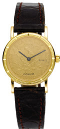 Timepieces:Wristwatch, Corum Lady's $5 Gold Coin, Gold, Leather Strap Wristwatch, modern.Case: 24 mm, round coin case, beaded bezel with hour in... (Total:1 Item)