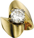 Estate Jewelry:Rings, Diamond, Gold Ring. The ring features a round brilliant-cut diamondmeasuring 8.40 - 8.38 x 4.70 mm and weighing approxima... (Total: 1Item)