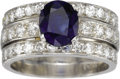 Estate Jewelry:Rings, Sapphire, Diamond, Platinum Ring. The ring features an oval-shapedsapphire measuring 8.00 x 6.75 x 4.00 mm and weighing a... (Total:1 Item)