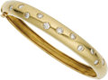 Estate Jewelry:Bracelets, Diamond, Gold Bracelet. The hinged bangle features full-cutdiamonds weighing a total of approximately 1.50 carats, set in...(Total: 1 Item)