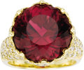 Estate Jewelry:Rings, Tourmaline, Diamond, Gold Ring. The ring, designed as a crown, features a round-cut rubellite tourmaline weighing approxim... (Total: 1 Item)