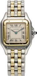 Timepieces:Wristwatch, Cartier Lady's Gold, Stainless Steel Panther Wristwatch, modern.Case: 22 mm, cushion-shaped stainless steel with 18k yell...(Total: 1 Item)