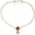 Estate Jewelry:Necklaces, Cultured Pearl, South Sea Cultured Pearl, Ruby, Diamond, GoldNecklace. The necklace is composed of cultured pearls rangin...(Total: 1 Item)