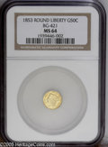 California Fractional Gold: , 1853 50C Liberty Round 50 Cents, BG-421, R.4, MS64 NGC. Thisshimmering near-Gem has a gorgeously preserved obverse. The re...