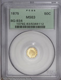 California Fractional Gold: , 1875 50C Indian Octagonal 50 Cents, BG-934, R.4, MS63 PCGS. Aflashy lemon-gold example that has a good strike and a tiny p...