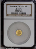 California Fractional Gold: , 1872 50C Indian Octagonal 50 Cents, BG-938, Low R.6, MS64 DeepMirror Prooflike NGC. Prominently flashy honey-gold fields c...