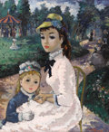 Fine Art - Painting, European:Contemporary   (1950 to present)  , M. ALLEROUX (French mid twentieth century). Mother and Child inthe Park, 1956. Oil on canvas. 29 x 24 inches (73.7 x 61...