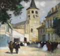 Fine Art - Painting, European, JULES RENÉ HERVÉ (French 1887-1981). Church Spire. Oil oncanvas. 11 x 9 inches (27.9 x 22.9 cm). Signed lower right:...