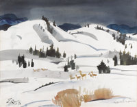 JAMES MILFORD ZORNES (American b.1908) May Time in Wyoming, 1970 Watercolor on paper 21-1/4 x 27-
