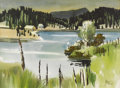 Fine Art - Painting, American:Contemporary   (1950 to present)  , JAMES MILFORD ZORNES (American b.1908). Untitled, Cabins at theLake, 1968. Watercolor on paper. 20-3/4 x 28-1/2 inches ...
