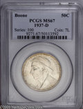 Commemorative Silver: , 1937-D 50C Boone MS67 PCGS. A highly desired and low mintage issue,this D-mint Boone shows glowing luster and nearly prist...