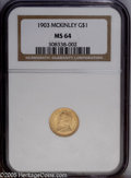 Commemorative Gold: , 1903 G$1 Louisiana Purchase/McKinley MS64 NGC. Appropriatelypreserved for a near-Gem with several noticeable copper spots ...