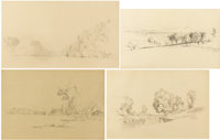DAVID JOHNSON (American 1827-1908) Selection of Four Drawings Pencil on paper Various Dimensions<
