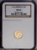 Commemorative Gold: , 1916 G$1 McKinley MS65 NGC. An exceptional McKinley dollar thatdisplays shimmering, lustrous fields and is draped with a l...