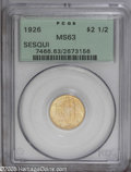 Commemorative Gold: , 1926 $2 1/2 Sesquicentennial MS63 PCGS. Attractive toning on thispopular type. Minimal marks and nothing seriously detract...