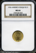 Commemorative Gold: , 1926 $2 1/2 Sesquicentennial MS64 NGC. Well struck with full,shimmering luster, pleasing light coloration, and a handful o...