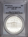 Modern Issues: , 1992-W $1 White House Silver Dollar PR70 Deep Cameo PCGS. An outstanding example of this important Commemorative type, one...
