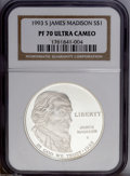 Modern Issues: , 1993-S $1 Bill of Rights Silver Dollar PR70 Ultra Cameo NGC, a brilliant and pristine piece with unimprovable cameo contra... (2 Coins)