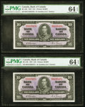 Canadian Currency: , BC-24b $10 1937 Two Consecutive Examples.. ... (Total: 2 notes)