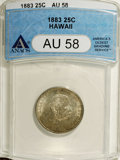 Coins of Hawaii: , 1883 25C Hawaii Quarter AU58 ANACS. NGC Census: (46/517). PCGSPopulation (74/840). Mintage: 500,000. (#10987)...