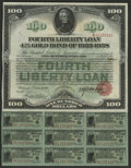 4 1/4% Fourth Liberty Loan $100 Bond Oct. 24, 1918. Here is a gorgeous Liberty Loan Bond with nine coupons attached. Thi...