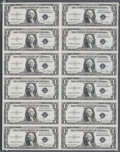 Fr. 1613W $1 1935D Silver Certificates. Uncut Sheet of 12. Gem Crisp Uncirculated. This sheet has been properly taken ca...