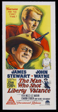 "Movie Posters:Western, The Man Who Shot Liberty Valance (Paramount, 1962). Australian Daybill (13"" X 30""). Western. Starring John Wayne, James Stew..."