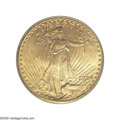 Saint-Gaudens Double Eagles: , 1924-D $20 MS65 PCGS. The reverse of this Gem displays vibrant orange-gold fields and light champagne highlights over the e...