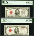 Small Size:Legal Tender Notes, Fr. 1531 $5 1928F Legal Tender Notes. Wide II/Wide I Changeover Pair. PCGS Gem New 65PPQ and Choice New 63PPQ.. ... (Total: 2 notes)