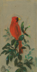 Texas:Early Texas Art - Impressionists, FRANK REAUGH (1860-1945). Untitled Male Cardinal. Pastel on gritpaper. 2-3/4 x 1-1/2 inches (7.0 x 3.8 cm). Unsigned, authe...