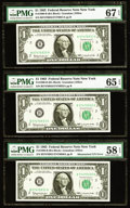 Error Notes:Mismatched Serial Numbers, Fr. 1900-B $1 1963 Federal Reserve Note. PMG Superb Gem Unc 67 EPQ, Gem Uncirculated 65 EPQ, Choice About Unc 58 EPQ.. ... (Total: 3 notes)