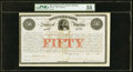 Confederate Notes:Group Lots, Ball 10 Cr. 1 $50 1861 Bond PMG About Uncirculated 55. . ...