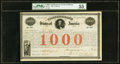 Confederate Notes:Group Lots, Ball 16 Cr. 4 $1000 1861 Bond PMG About Uncirculated 55.. ...