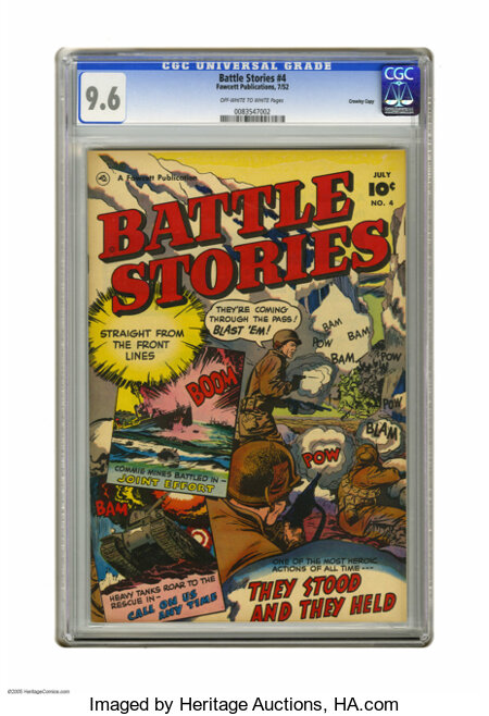 Battle Stories #4 Crowley Copy pedigree (Fawcett, 1952) CGC NM+ 9.6 Off-white to white pages. Outstanding grade and war cove...
