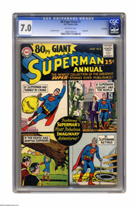 80 Page Giant #1 Big Apple pedigree (DC, 1964) CGC FN/VF 7.0 Off-white pages. Superman Annual. Curt Swan cover. Overstre...