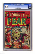 Golden Age (1938-1955):Horror, Journey Into Fear #8 (Superior, 1952) CGC VF 8.0 Off-white pages.Overstreet 2005 VF 8.0 value = $170. CGC census 10/05: 1 i...