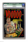 "Golden Age (1938-1955):Horror, Voodoo Annual #1 (Farrell, 1952) CGC Qualified VG 4.0 Cream tooff-white pages. CGC notes: ""Last page married and detached.""..."