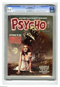 Psycho #8 (Skywald, 1972) CGC NM/MT 9.8 Off-white to white pages. First appearance of Edward and Mina Sartyros (The Huma...