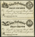 Obsoletes By State:New Hampshire, West Hempstead, NH- John D. Ordway 25¢-10¢ Nov. 1, 1862 Uncut Vertical Pair. ...