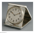 Other:American, THE STERLING TRAVEL CLOCK. Maker unknown and clock mechanism byBaily Banks & Biddle Co.. The tri-fold travel clock with c...