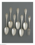 Other:American, A SET OF SIX TABLESPOONS & ONE DINNER FORK. VandersliceCompany. The group of six tablespoons with PB engraved tohand... (Total: 7 Items)