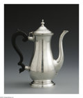 Other:American, A STERLING CHOCOLATE POT. Lunt Silversmiths, Massachusetts. Thesterling chocolate pot with ebony double c-scroll handle w...