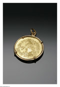 Estate Jewelry:Lockets and Pendants, A GOLD COIN NECKLACE. Maker unknown. The beveled reproductionByzantine Empire, Leo III, gold solidus coin pendant. The di...