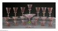 Art Glass:Other , A SET OF ITALIAN GLASS STEMWARE. Murano, Italy, c.1920-1930s. Thegroup of clear stemware with pink enhancements and gilt ... (Total:20 Items)