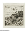 Prints:European Modern, ADOLF BEAUFRERE (1876-1960). Hillside, c.1930. Etching. 6.75 x5.75in.. Signed lower right. Indecipherable inscription to lo...